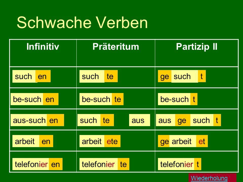 Schwache Verben Infinitiv Präteritum Partizip II such en such te ge