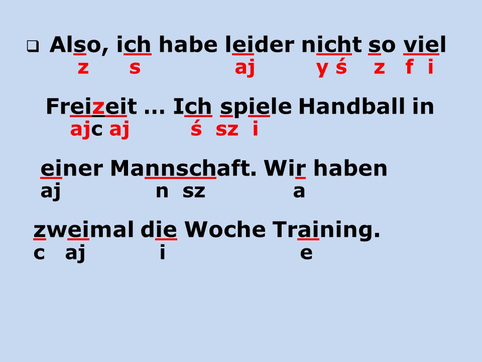 Freizeit … Ich spiele Handball in ajc aj ś sz i