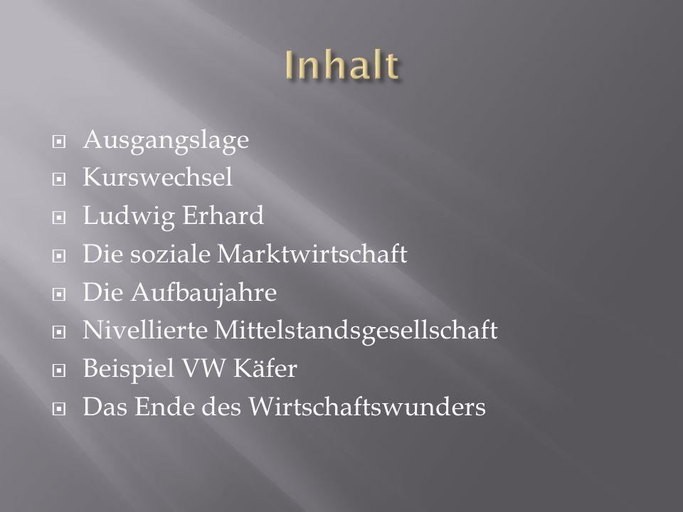 Inhalt Ausgangslage Kurswechsel Ludwig Erhard