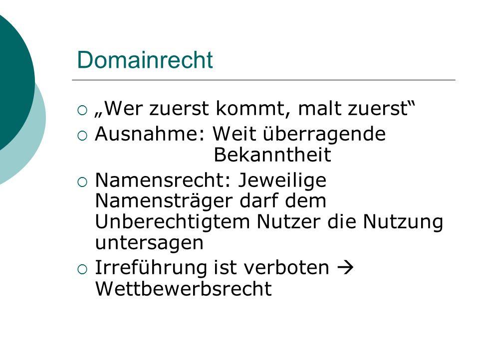 """Domainrecht """"Wer zuerst kommt, malt zuerst"""