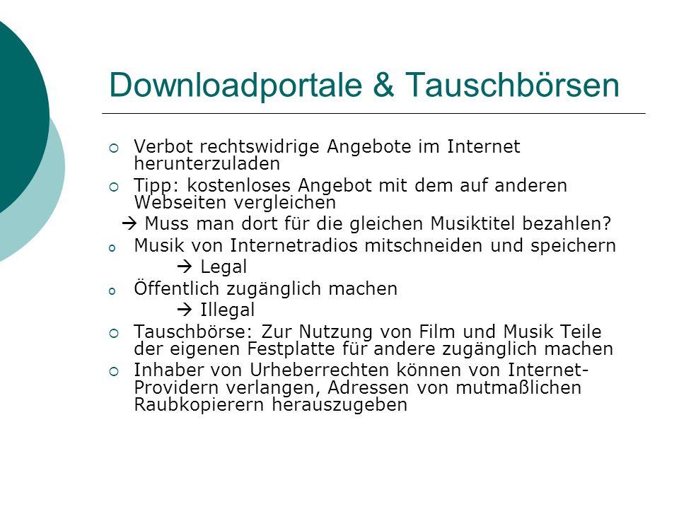 Downloadportale & Tauschbörsen