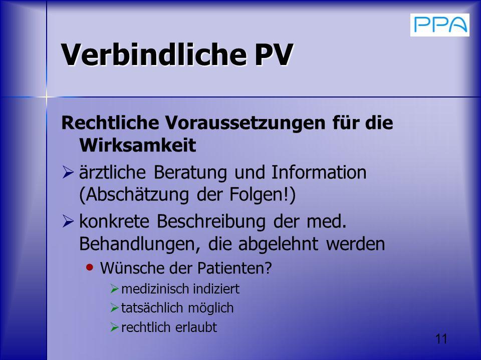 Verbindliche PV Rechtliche Voraussetzungen für die Wirksamkeit