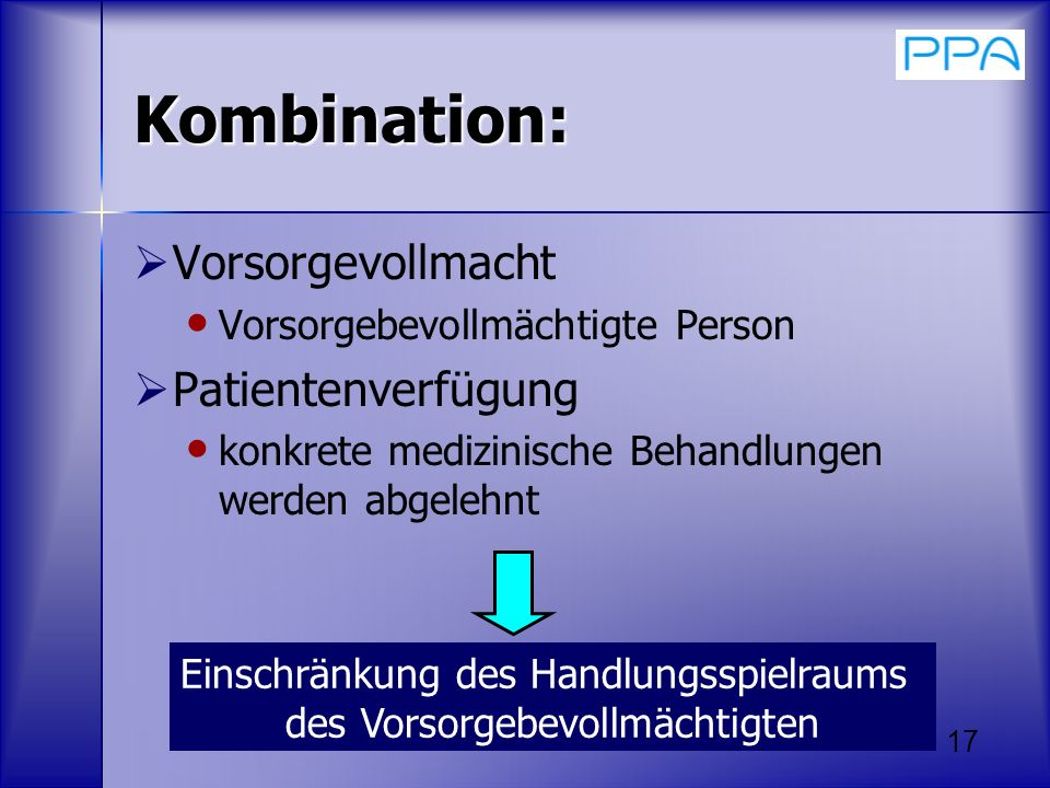 Kombination: Vorsorgevollmacht Patientenverfügung