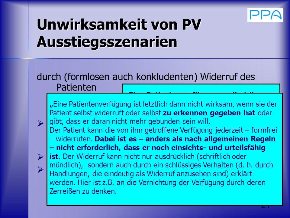 Unwirksamkeit von PV Ausstiegsszenarien