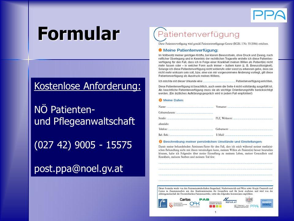 Formular Kostenlose Anforderung: NÖ Patienten-