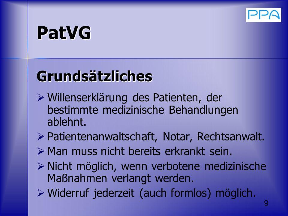 PatVG Grundsätzliches