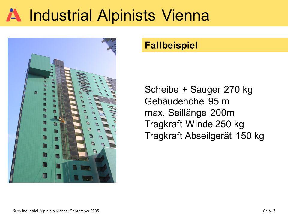 Fallbeispiel Scheibe + Sauger 270 kg. Gebäudehöhe 95 m. max. Seillänge 200m. Tragkraft Winde 250 kg.