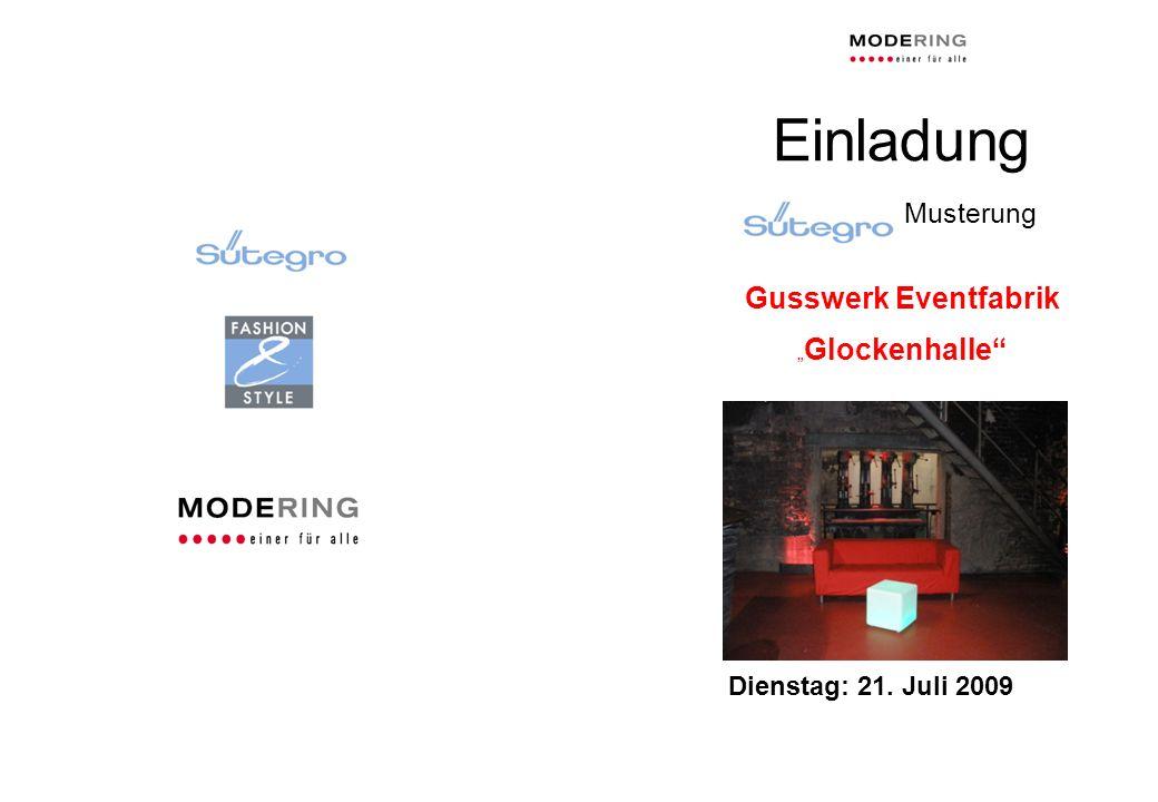 """Einladung Musterung Gusswerk Eventfabrik """"Glockenhalle"""