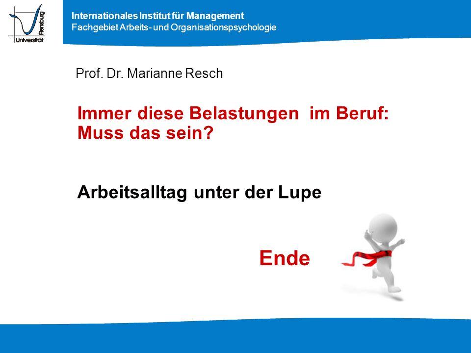 Prof. Dr. Marianne Resch Immer diese Belastungen im Beruf: Muss das sein Arbeitsalltag unter der Lupe.
