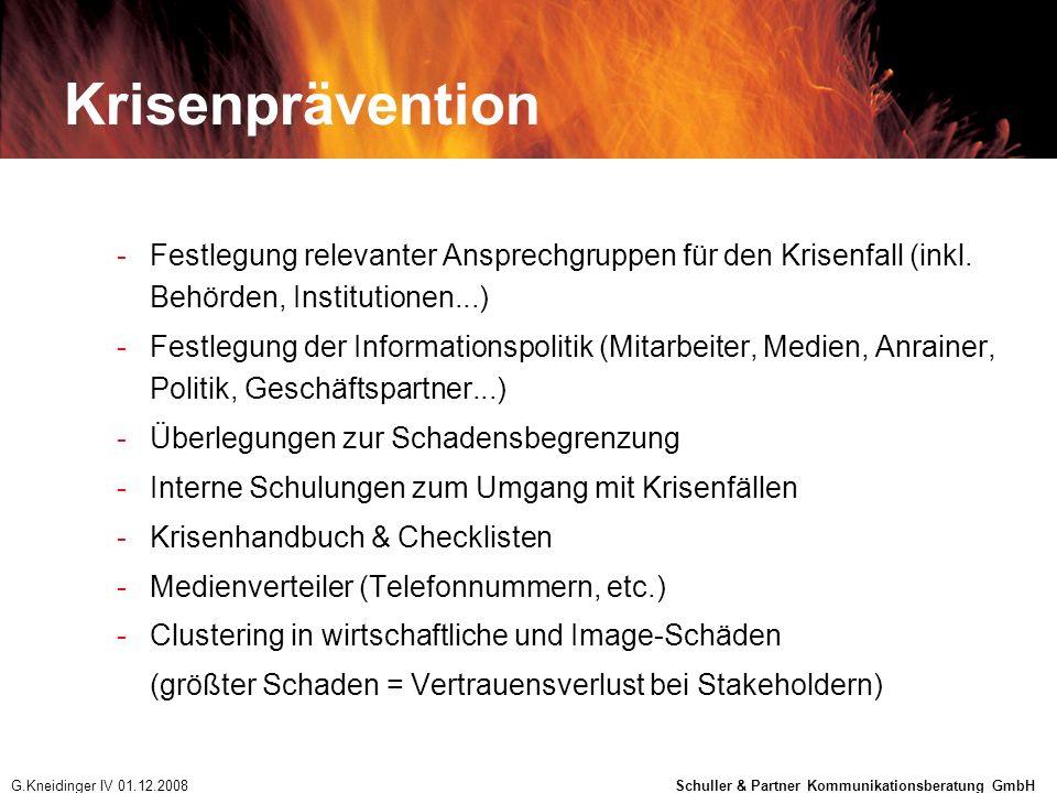 Krisenprävention Festlegung relevanter Ansprechgruppen für den Krisenfall (inkl. Behörden, Institutionen...)
