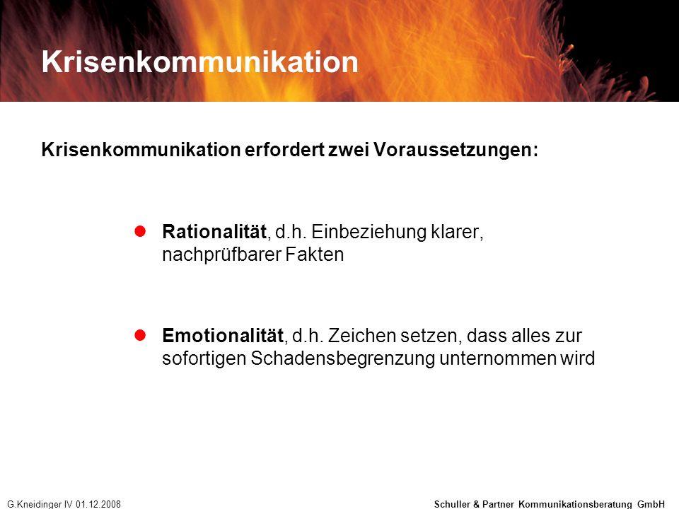 Krisenkommunikation Krisenkommunikation erfordert zwei Voraussetzungen: Rationalität, d.h. Einbeziehung klarer, nachprüfbarer Fakten.