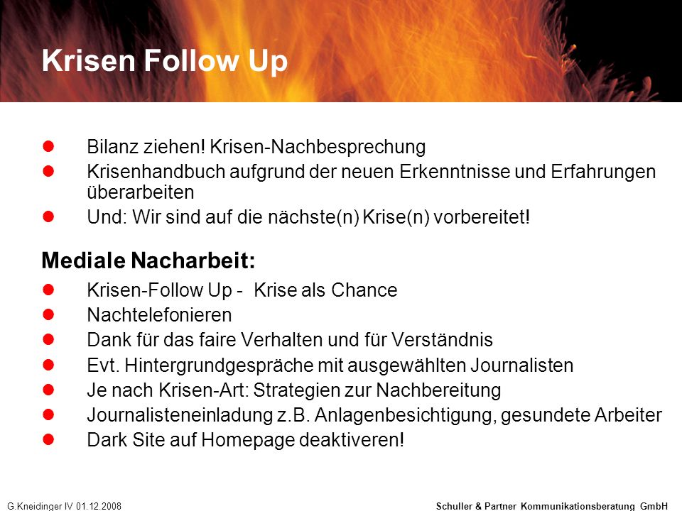 Krisen Follow Up Mediale Nacharbeit: