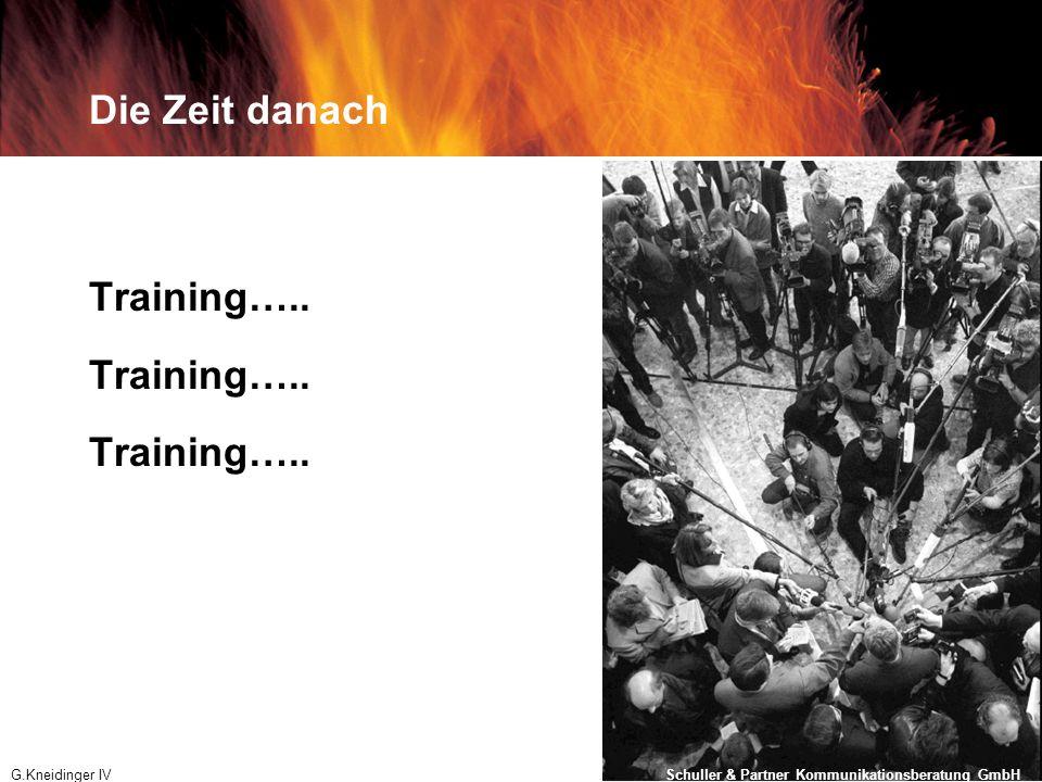 Die Zeit danach Training…..