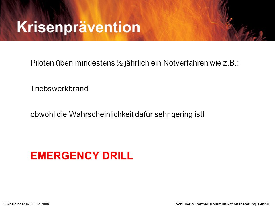 Krisenprävention EMERGENCY DRILL