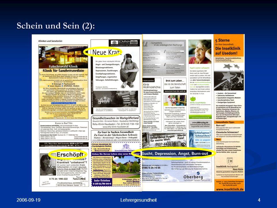 Schein und Sein (2): 2006-09-19 Lehrergesundheit