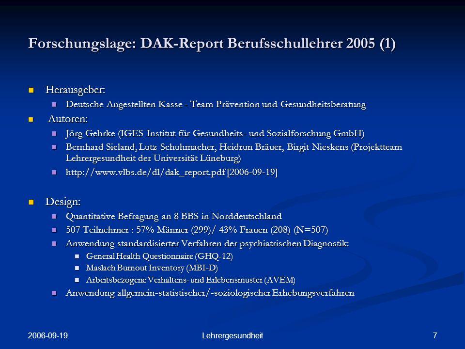 Forschungslage: DAK-Report Berufsschullehrer 2005 (1)