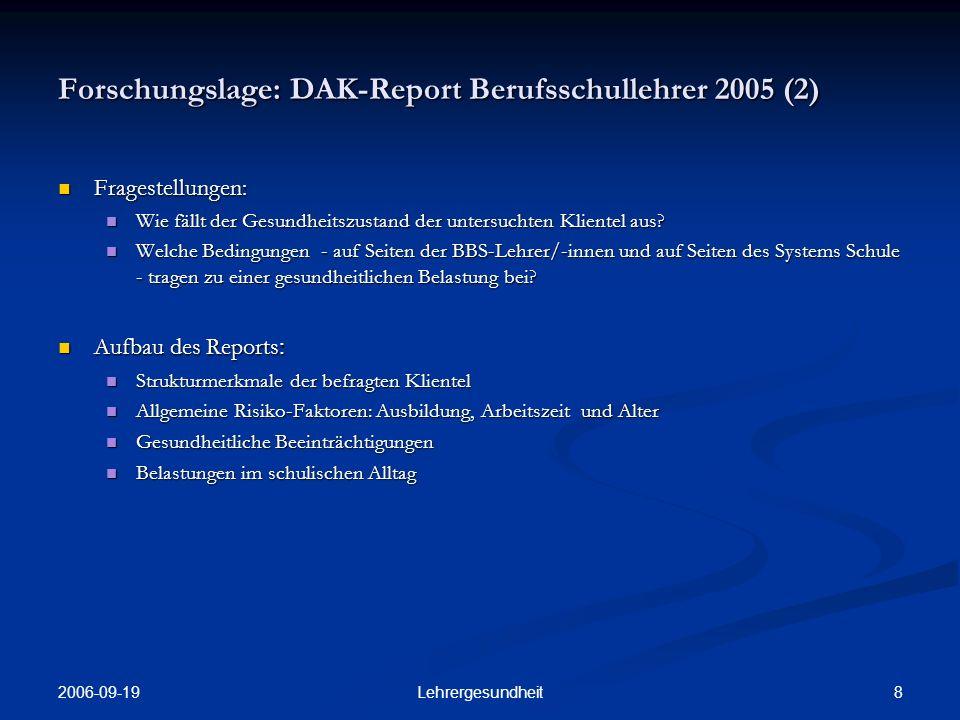 Forschungslage: DAK-Report Berufsschullehrer 2005 (2)