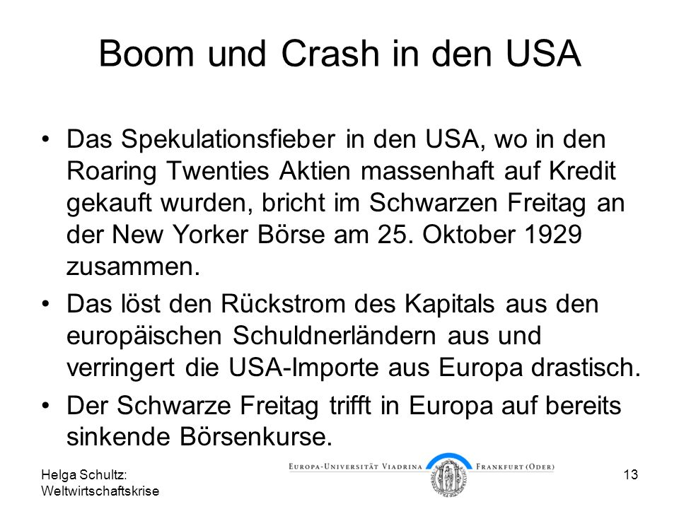 Boom und Crash in den USA