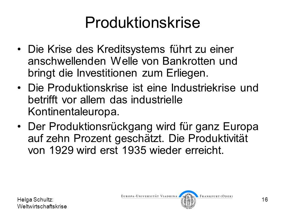Produktionskrise Die Krise des Kreditsystems führt zu einer anschwellenden Welle von Bankrotten und bringt die Investitionen zum Erliegen.