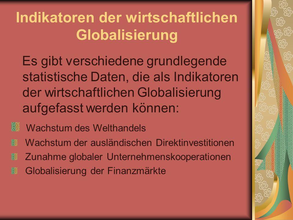 Indikatoren der wirtschaftlichen Globalisierung