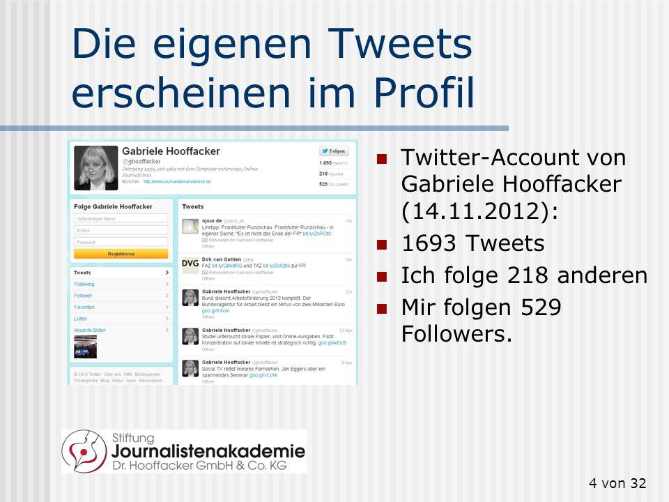 Die eigenen Tweets erscheinen im Profil