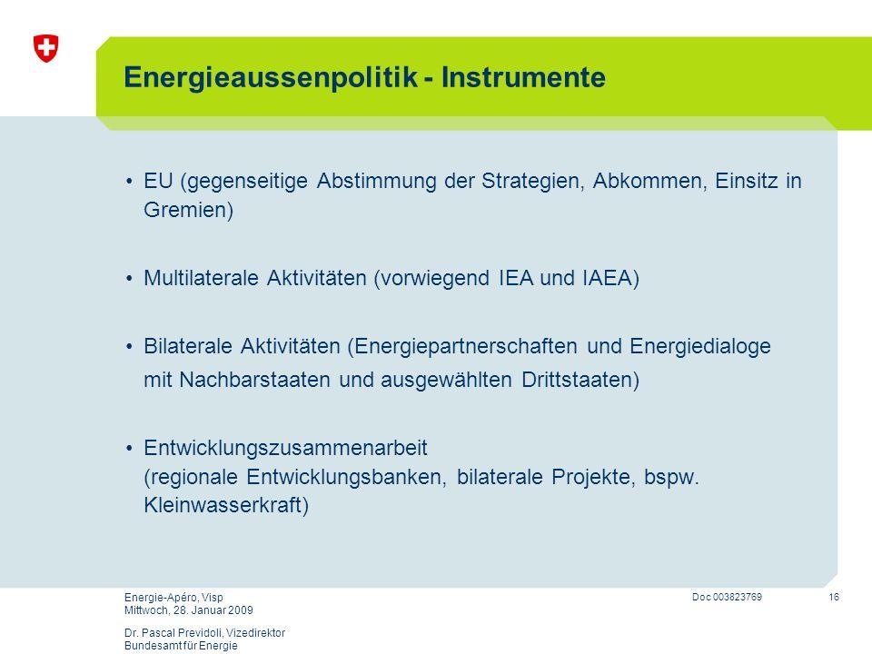 Energieaussenpolitik - Instrumente