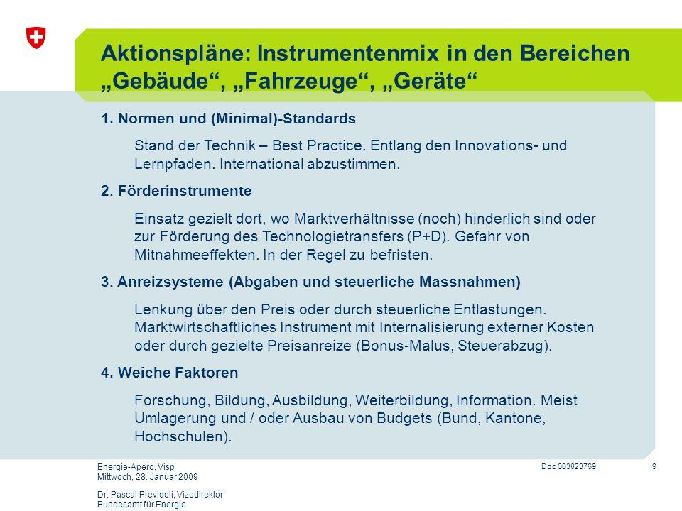 """Aktionspläne: Instrumentenmix in den Bereichen """"Gebäude , """"Fahrzeuge , """"Geräte"""