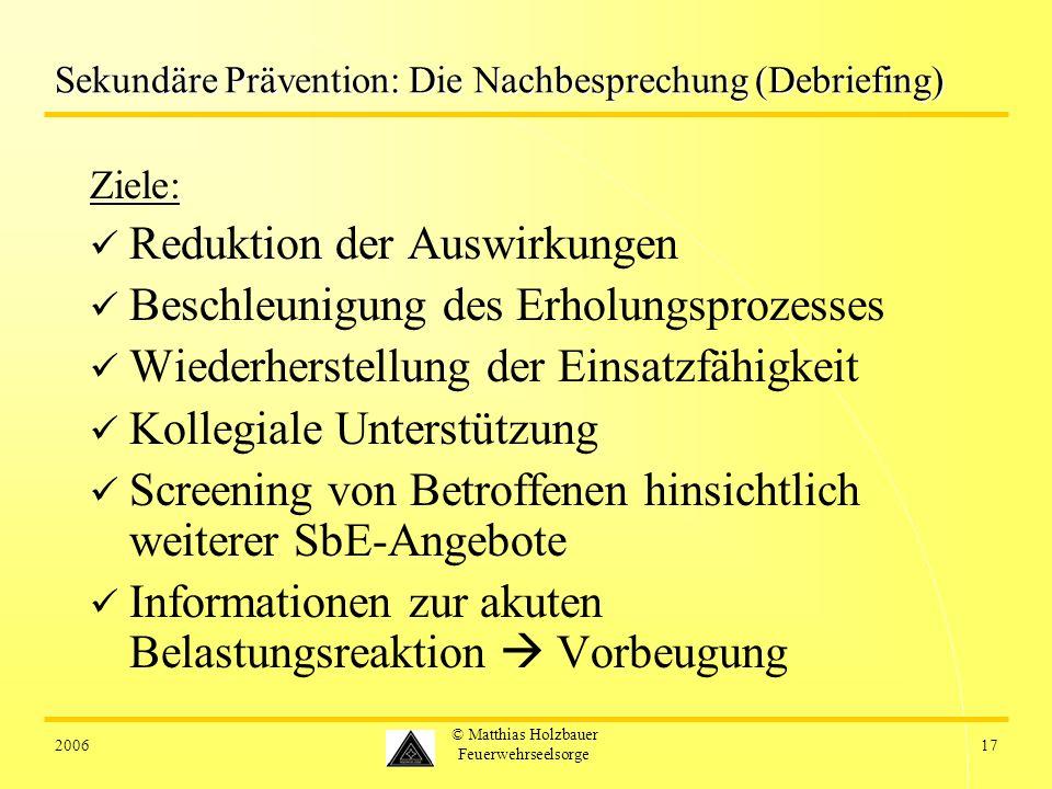 Sekundäre Prävention: Die Nachbesprechung (Debriefing)