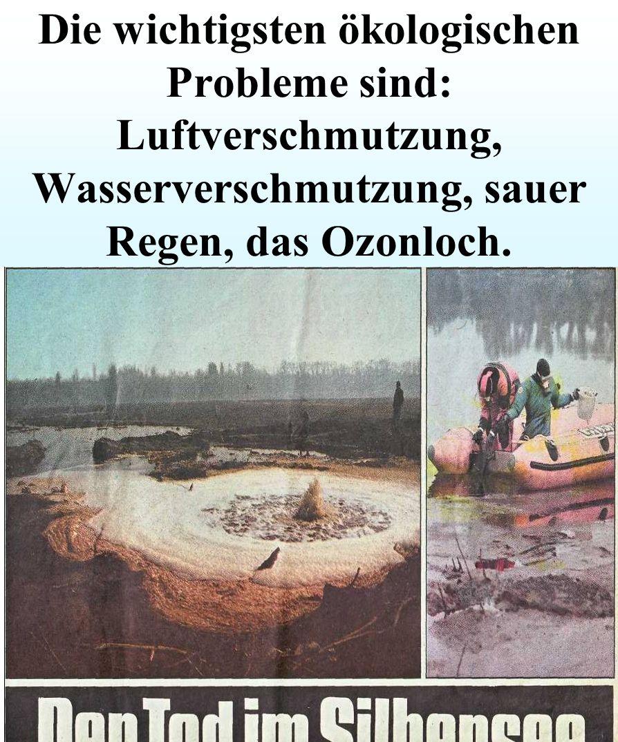 D trommel 20/90 Die wichtigsten ökologischen Probleme sind: Luftverschmutzung, Wasserverschmutzung, sauer Regen, das Ozonloch.