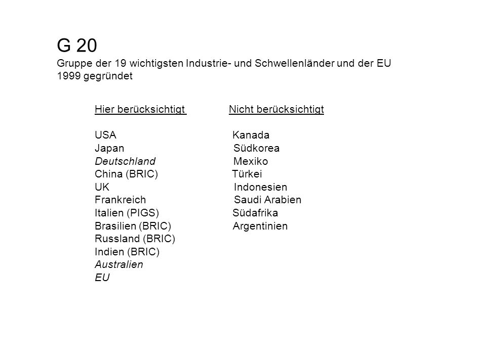 G 20 Gruppe der 19 wichtigsten Industrie- und Schwellenländer und der EU 1999 gegründet