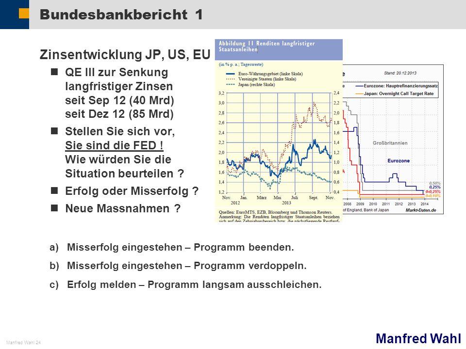 Bundesbankbericht 1 Zinsentwicklung JP, US, EU