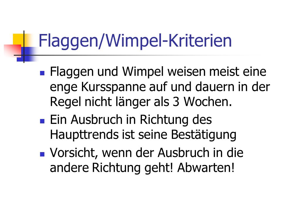 Flaggen/Wimpel-Kriterien