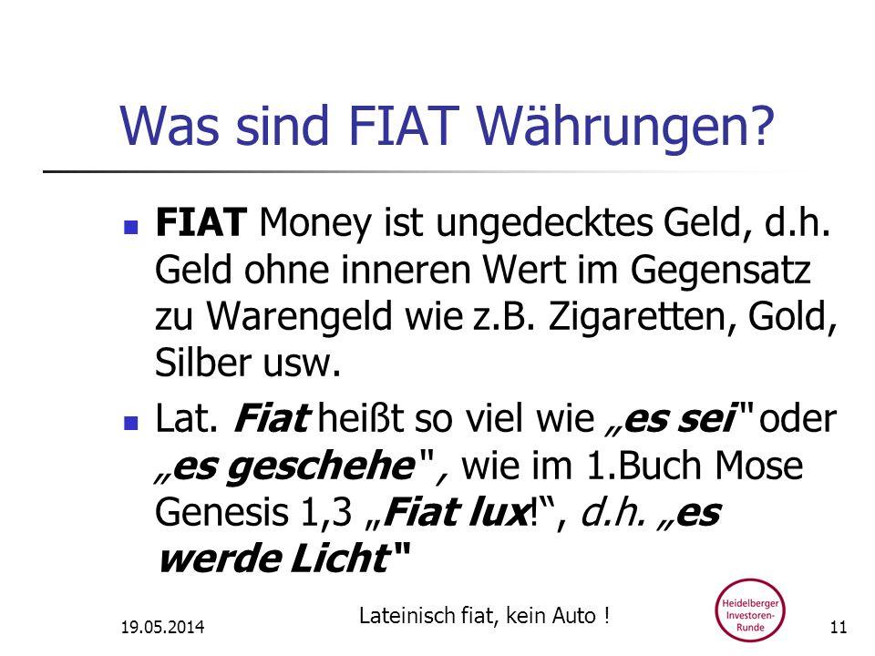 Was sind FIAT Währungen