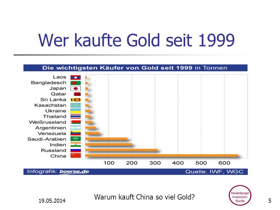 Wer kaufte Gold seit 1999 31.03.2017 Warum kauft China so viel Gold