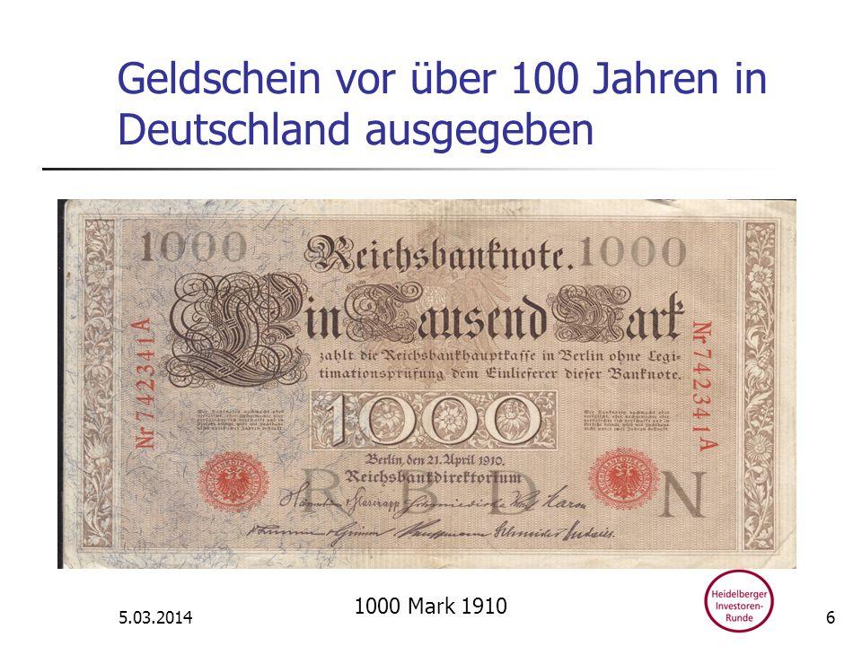 Geldschein vor über 100 Jahren in Deutschland ausgegeben