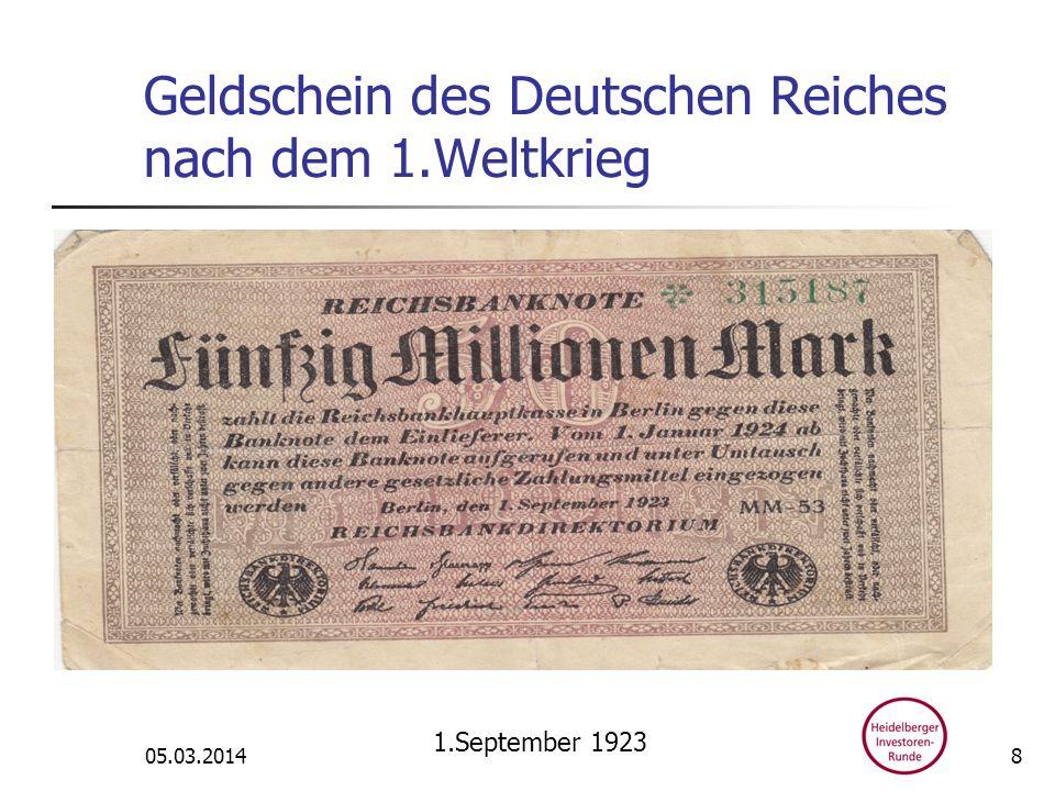 Geldschein des Deutschen Reiches nach dem 1.Weltkrieg