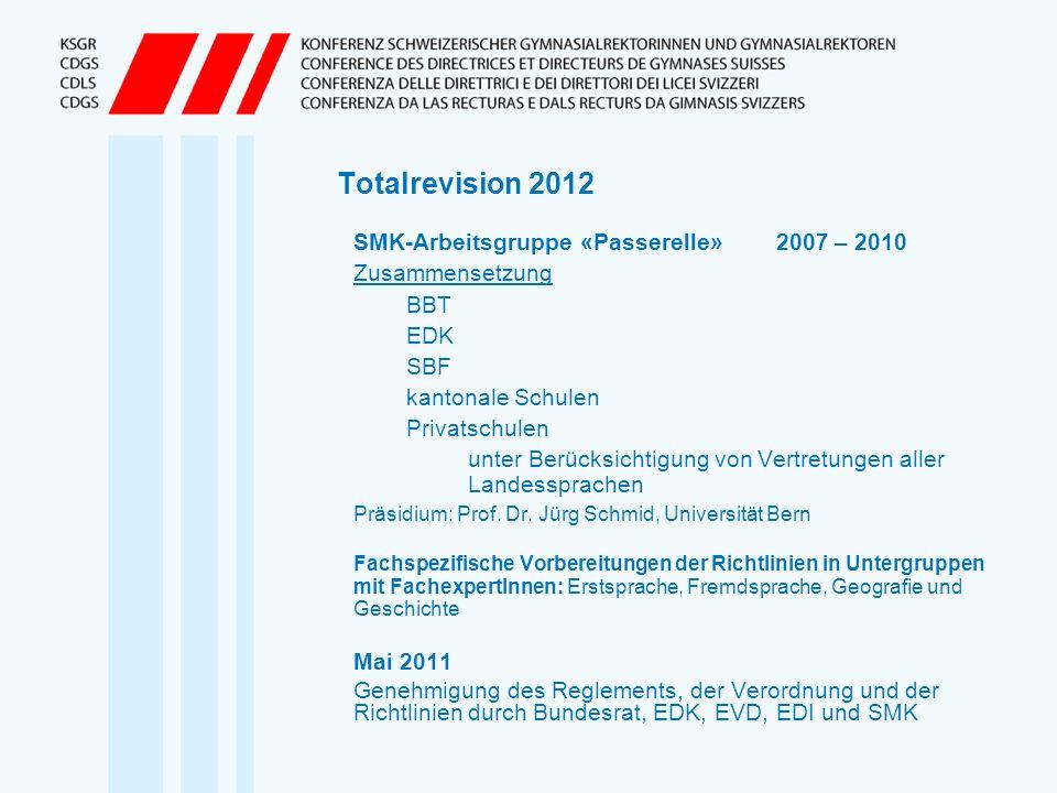 Totalrevision 2012 SMK-Arbeitsgruppe «Passerelle» 2007 – 2010