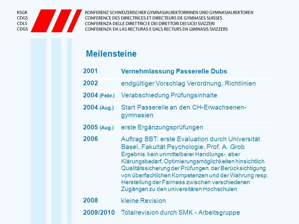Meilensteine 2001 Vernehmlassung Passerelle Dubs 2002
