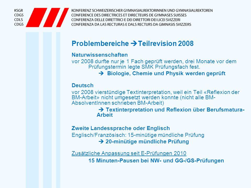 Problembereiche Teilrevision 2008