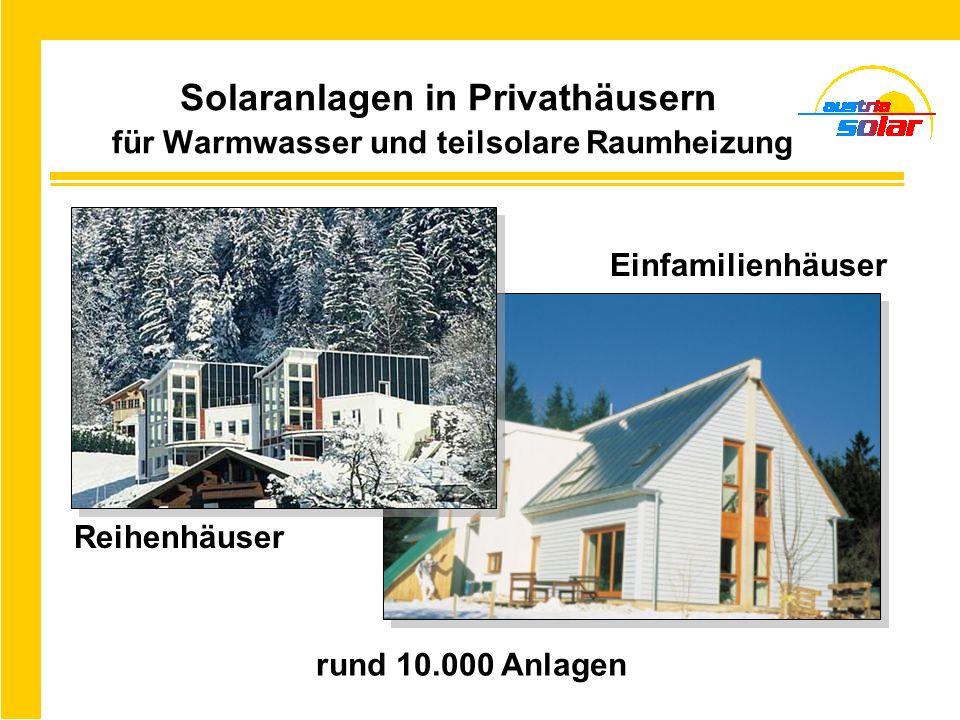 Solaranlagen in Privathäusern für Warmwasser und teilsolare Raumheizung