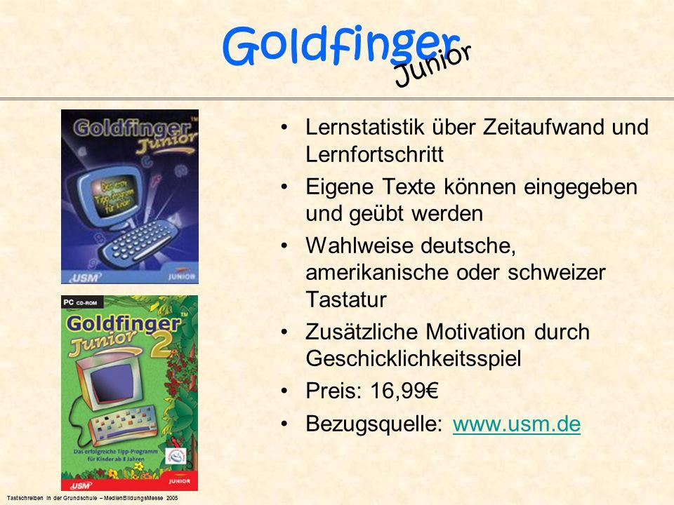 Goldfinger Junior Lernstatistik über Zeitaufwand und Lernfortschritt