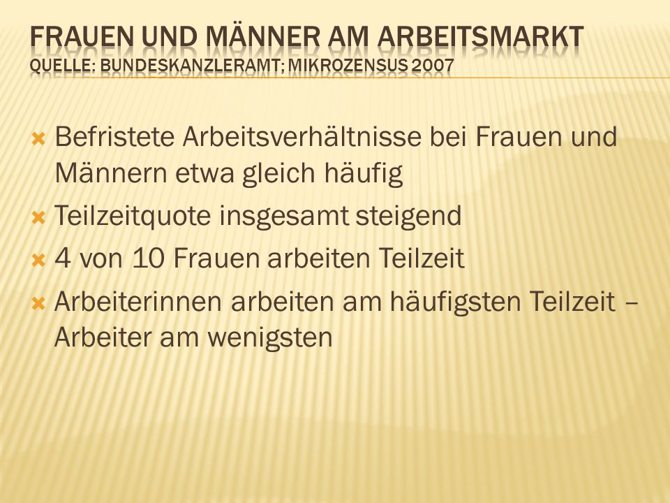 Frauen und Männer am Arbeitsmarkt Quelle: Bundeskanzleramt; Mikrozensus 2007