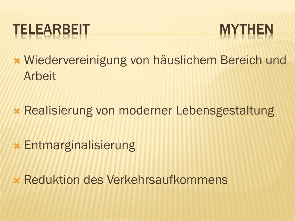 Telearbeit Mythen Wiedervereinigung von häuslichem Bereich und Arbeit