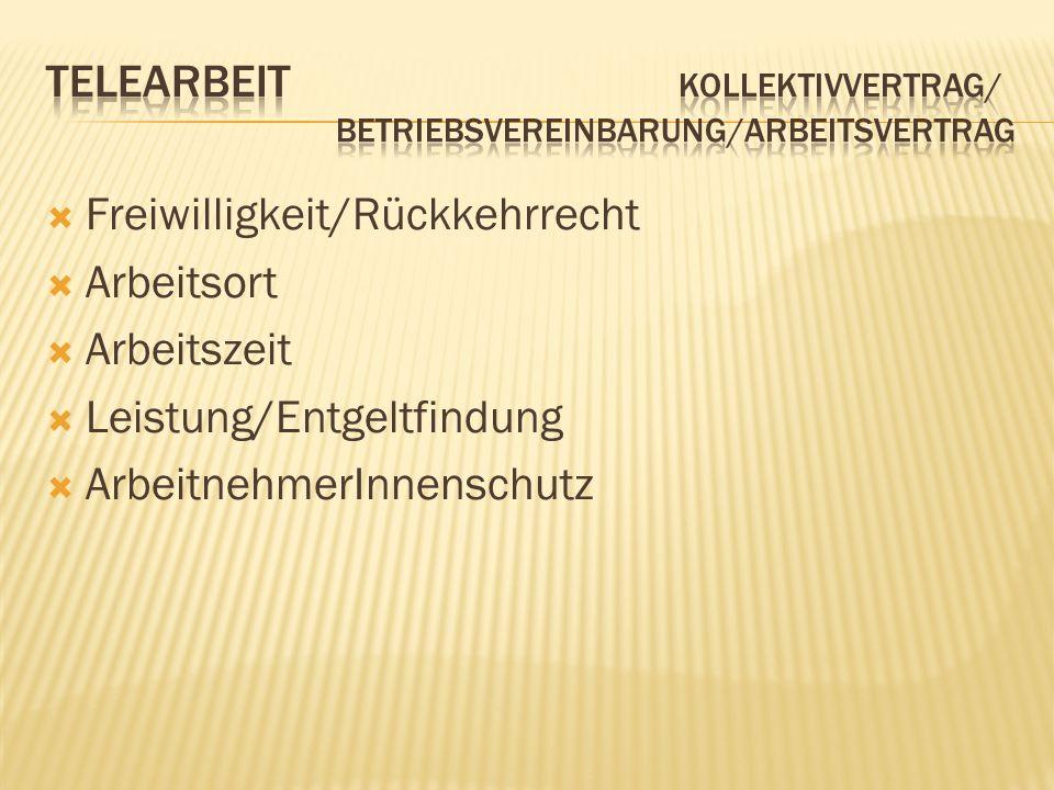 Telearbeit Kollektivvertrag/ Betriebsvereinbarung/Arbeitsvertrag