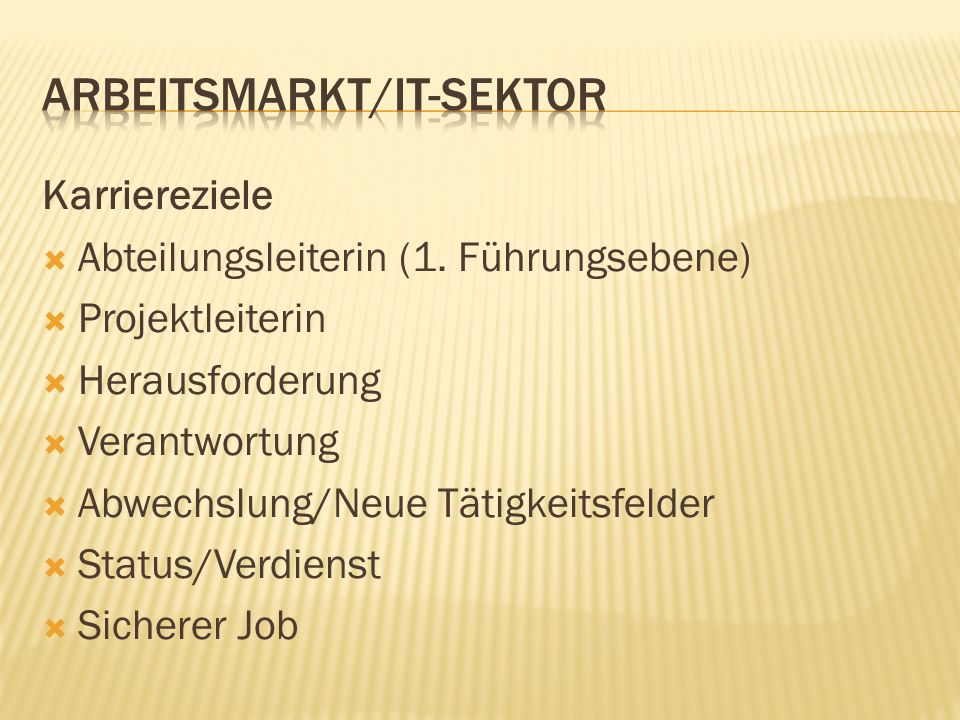 Arbeitsmarkt/IT-Sektor