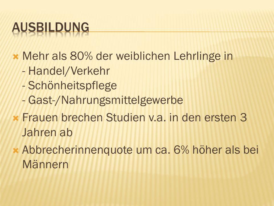 Ausbildung Mehr als 80% der weiblichen Lehrlinge in - Handel/Verkehr - Schönheitspflege - Gast-/Nahrungsmittelgewerbe.