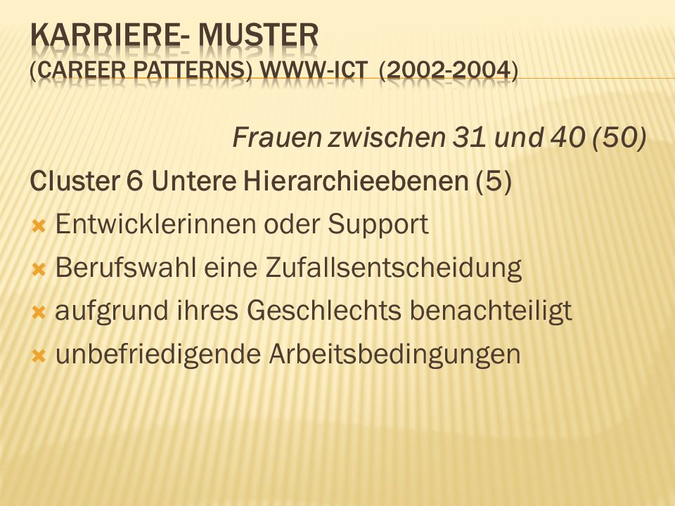 Karriere- Muster (career patterns) www-ict ( )