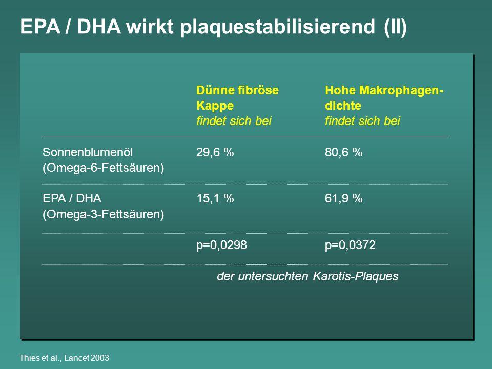 EPA / DHA wirkt plaquestabilisierend (II)