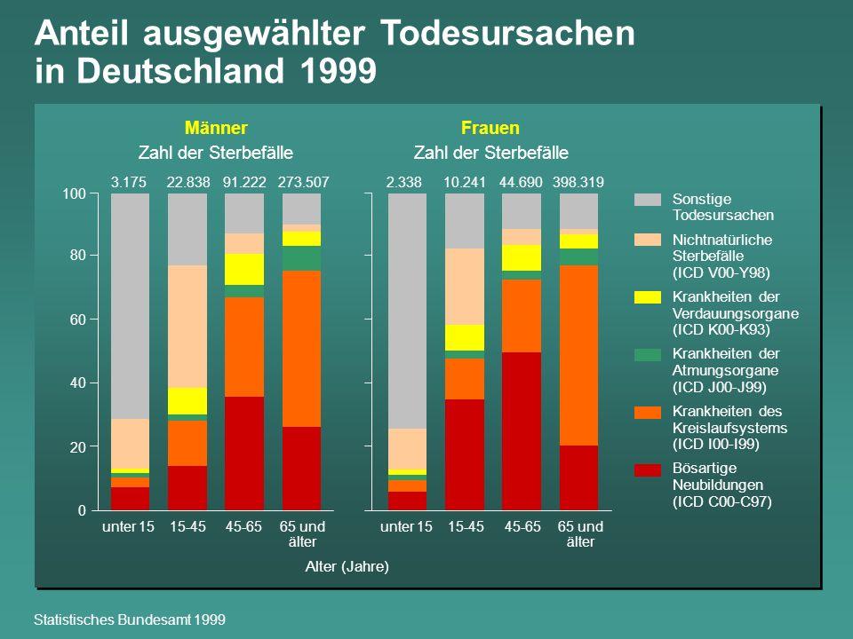 Anteil ausgewählter Todesursachen in Deutschland 1999