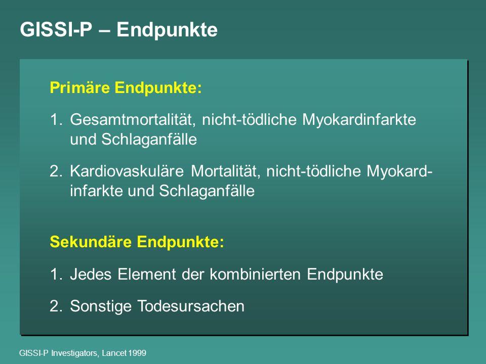 GISSI-P – Endpunkte Primäre Endpunkte: